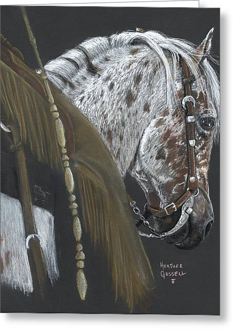 Spotted Horse Greeting Cards - Cowboy Greeting Card by Heather Gessell