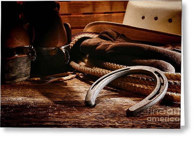 Western Boots Greeting Cards - Cowboy Horseshoe Greeting Card by Olivier Le Queinec
