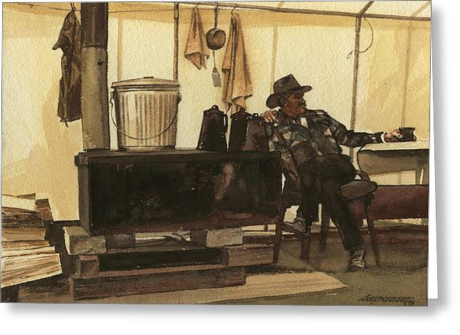 Old Stove Greeting Cards - Cowboy in Tent by Stove Greeting Card by Don  Langeneckert