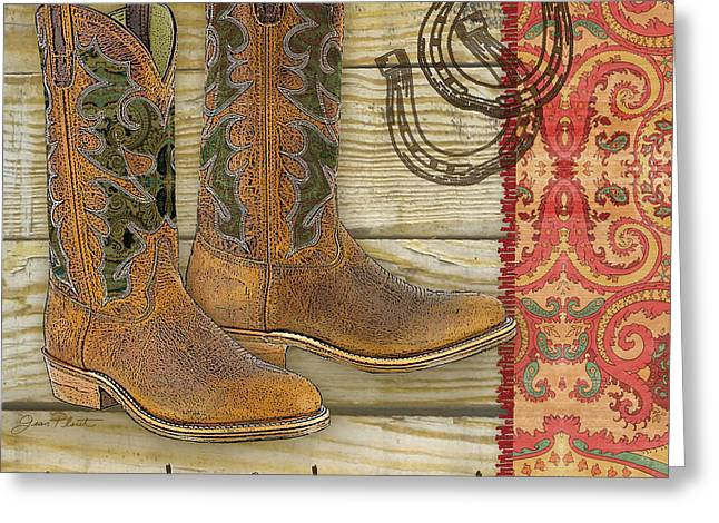 Boots Digital Art Greeting Cards - Cowboy-JP2512 Greeting Card by Jean Plout