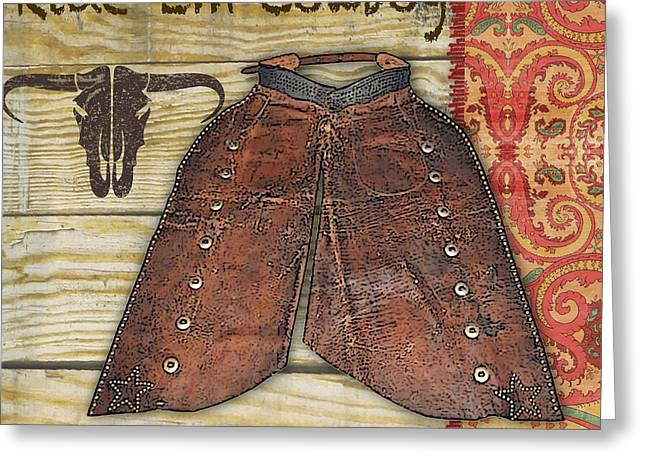 Boots Digital Art Greeting Cards - Cowboy-JP2513 Greeting Card by Jean Plout