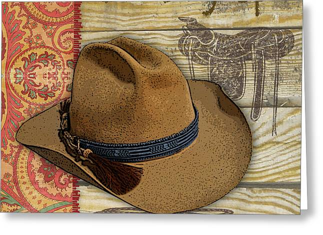 Boots Digital Art Greeting Cards - Cowboy-JP2515 Greeting Card by Jean Plout