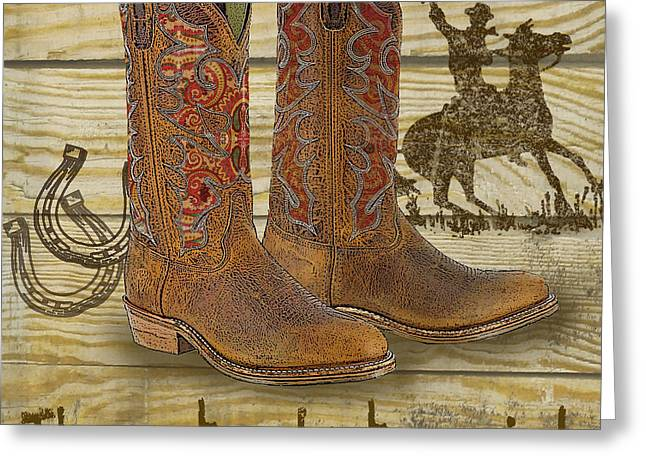 Boots Digital Art Greeting Cards - Cowboy-JP2521 Greeting Card by Jean Plout