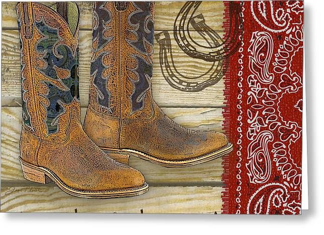 Boots Digital Art Greeting Cards - Cowboy-JP2525 Greeting Card by Jean Plout