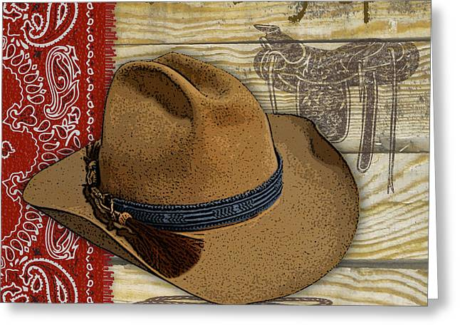 Boots Digital Art Greeting Cards - Cowboy-JP2528 Greeting Card by Jean Plout