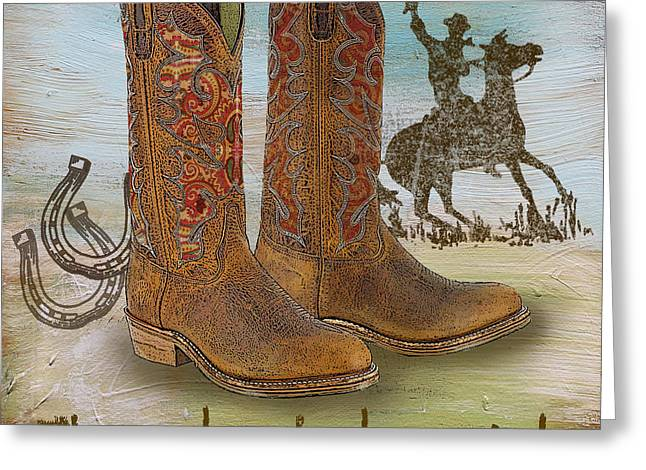 Boots Digital Art Greeting Cards - Cowboy-JP2529 Greeting Card by Jean Plout