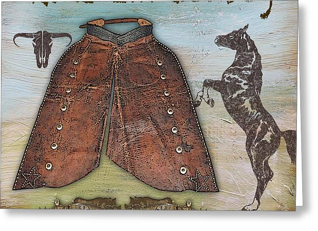 Boots Digital Art Greeting Cards - Cowboy-JP2530 Greeting Card by Jean Plout