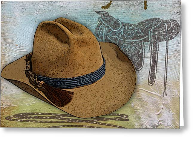 Boots Digital Art Greeting Cards - Cowboy-JP2532 Greeting Card by Jean Plout