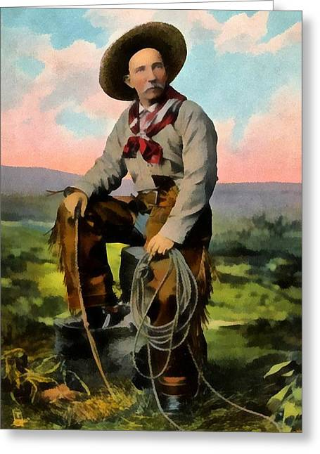 Cards Vintage Greeting Cards - Cowboy King Of The Plains Greeting Card by Raphael Tuck And Sons