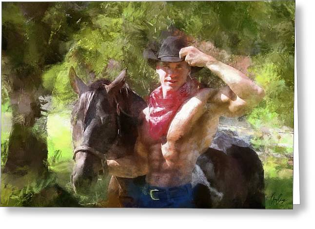 Dawid Greeting Cards - Cowboy Greeting Card by Marcin and Dawid Witukiewicz