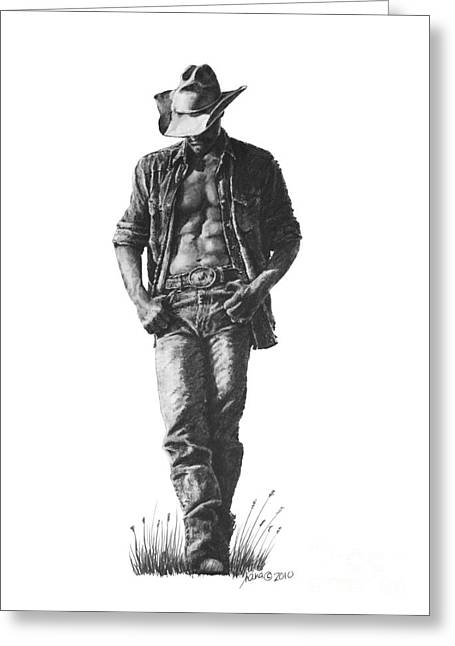 Human Beings Drawings Greeting Cards - Cowboy Greeting Card by Marianne NANA Betts