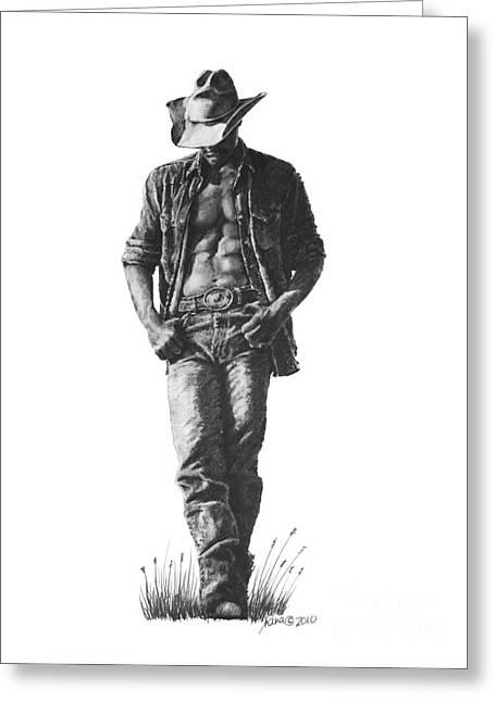 Cowboy Greeting Card by Marianne NANA Betts