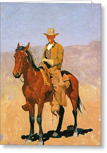 Western Art Greeting Cards - Cowboy Mounted On A Horse Greeting Card by Frederic Remington