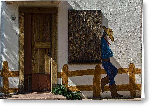 Cowboy Mural In Benson Arizona Usa Greeting Card by Dave Dilli