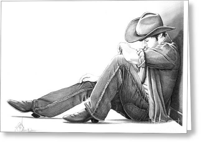 Western Pencil Drawings Greeting Cards - Cowboy Greeting Card by Murphy Elliott