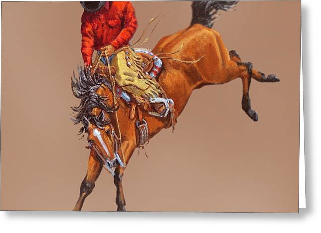 Bronc Greeting Cards - Cowboy On A Bucking Horse Greeting Card by Randy Follis