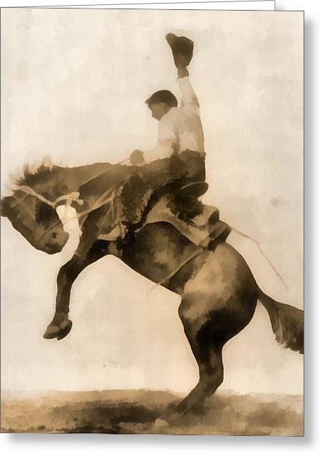 Steer Greeting Cards - Cowboy On Bucking Bronco Greeting Card by Dan Sproul