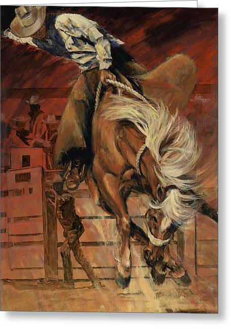 Bucking Horses Greeting Cards - Cowboy on Bucking Horse Greeting Card by Don  Langeneckert