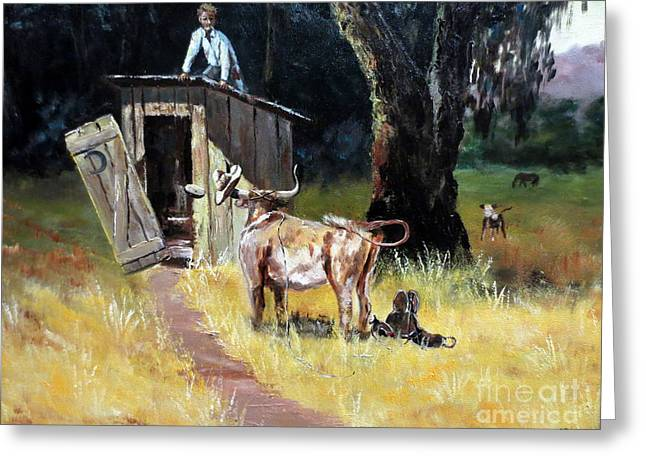 Pondering Paintings Greeting Cards - Cowboy On The Outhouse  Greeting Card by Lee Piper