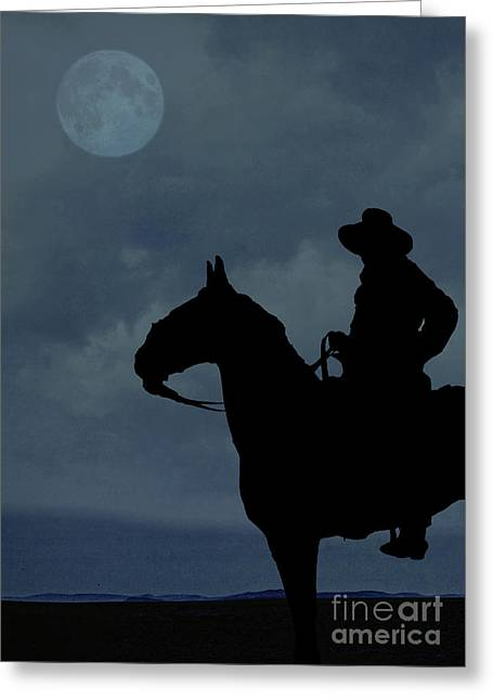 Horseback Photographs Greeting Cards - Cowboy on the range Greeting Card by Edward Fielding