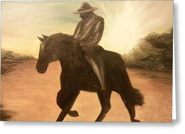 Courage Greeting Cards - Cowboy on the Range Greeting Card by I F Abbie Shores