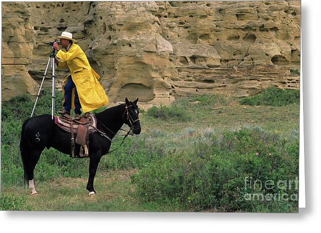 Cowboy Photographer Greeting Card by Bob Christopher