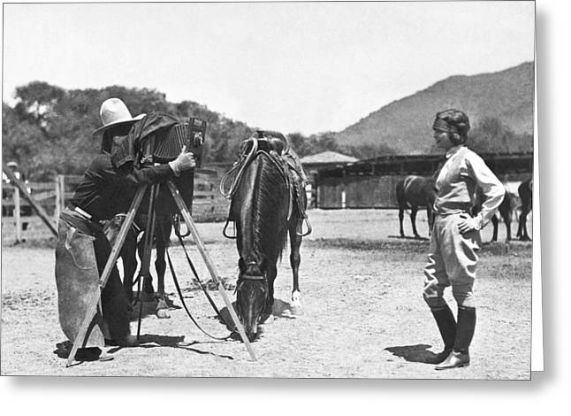 Cowboy Photographer Greeting Card by Underwood Archives