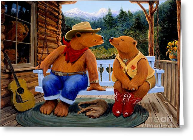 Mountain Cabin Greeting Cards - Cowboy Romance Greeting Card by Charles Fennen