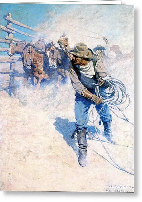 N.c. Greeting Cards - Cowboy Roping Wild Horses Greeting Card by N C Wyeth