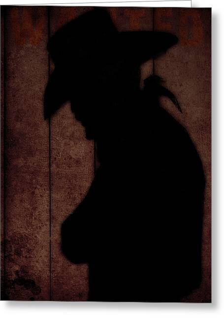 Hard Hat Greeting Cards - Cowboy silhouette profile  Greeting Card by Toppart Sweden