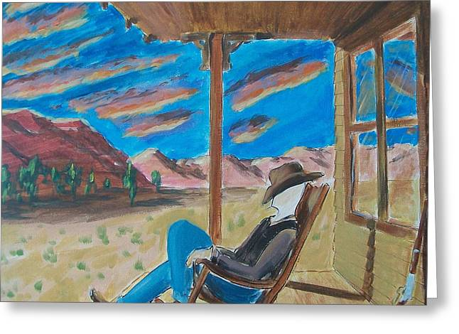 Levis Paintings Greeting Cards - Cowboy Sitting in Chair at Sundown Greeting Card by John Lyes
