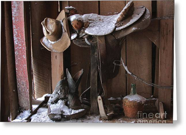Cater Greeting Cards - Cowboy Snow Boots Greeting Card by Pam Carter