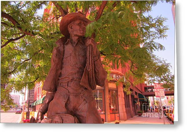 The Western Hotel Greeting Cards - Cowboy Statue in Front of the Brown Palace Hotel in Denver Greeting Card by John Malone