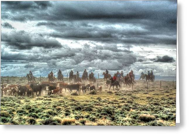 Gathering Greeting Cards - Cowboy Storm Greeting Card by Vikki Correll