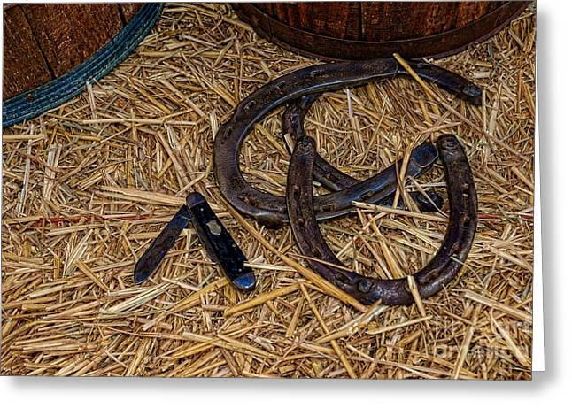 Charro Hat Greeting Cards - Cowboy theme - horseshoes and whittling knife Greeting Card by Paul Ward