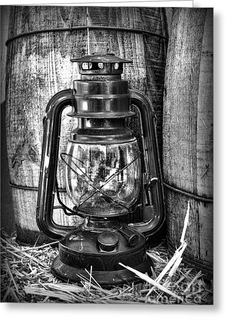 Charro Hat Greeting Cards - Cowboy themed Wood Barrels and Lantern in black and white Greeting Card by Paul Ward