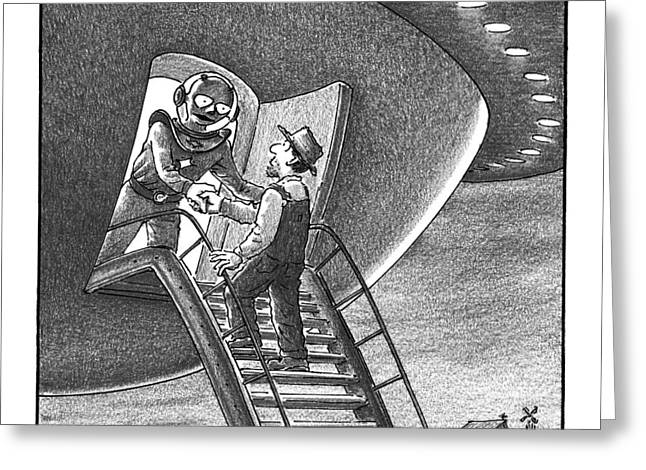 Cowboy Walks Up To A Ufo Greeted By An Alien Greeting Card by Harry Bliss