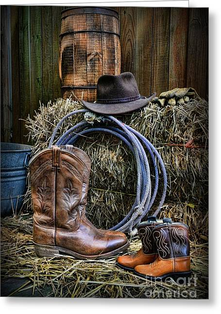 Little Wayne Greeting Cards - Cowboy - When I Grow Up Greeting Card by Paul Ward