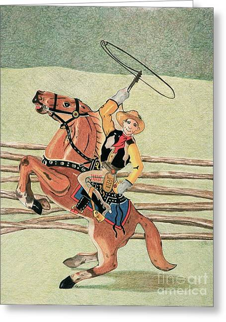 Child Toy Drawings Greeting Cards - Cowboy Windup Greeting Card by Glenda Zuckerman