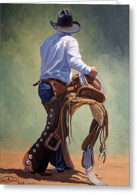 Arizona Cowboy Greeting Cards - Cowboy With Saddle Greeting Card by Randy Follis