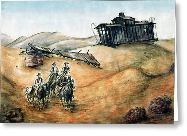 American Cowboy Artist Greeting Cards - Cowboys and Canyons - Western Art Painting Greeting Card by Peter Fine Art Gallery  - Paintings Photos Digital Art