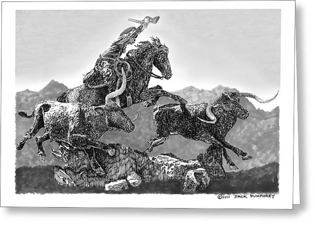 Pen And Ink Framed Prints Greeting Cards - Cowboys and Longhorns Greeting Card by Jack Pumphrey