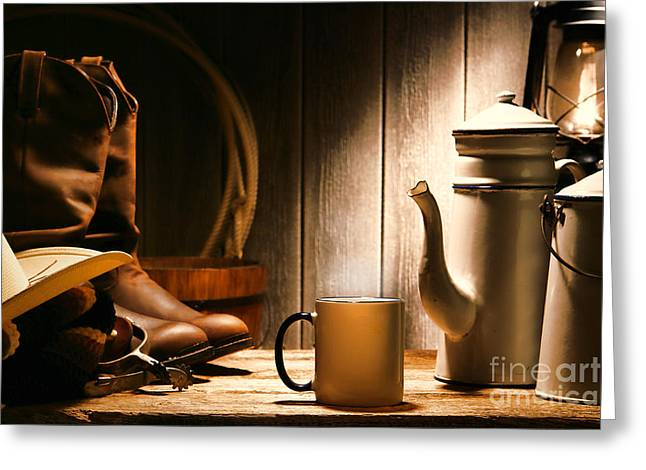 Old Wood Greeting Cards - Cowboys Coffee Break Greeting Card by Olivier Le Queinec