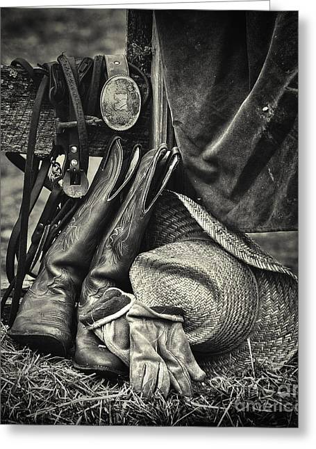 Riding Boots Digital Art Greeting Cards - Cowboys Gear Greeting Card by Jerry Fornarotto
