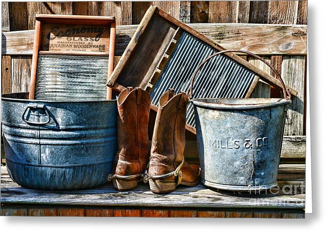 Old Washboards Photographs Greeting Cards - Cowboys Have Laundry Too Greeting Card by Paul Ward