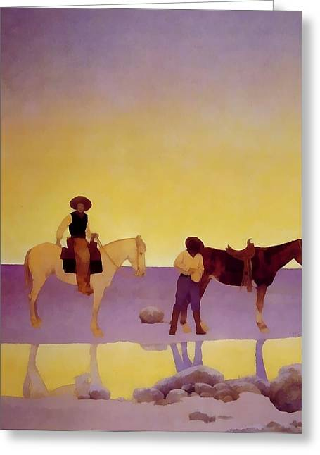 Arizona Cowboy Greeting Cards - Cowboys Hot Springs Arizona Greeting Card by Maxfield Parrish