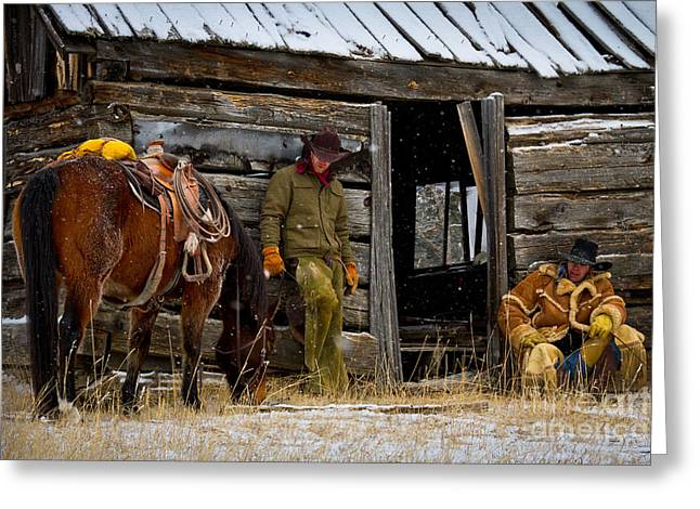 Shack Greeting Cards - Cowboys on break Greeting Card by Inge Johnsson