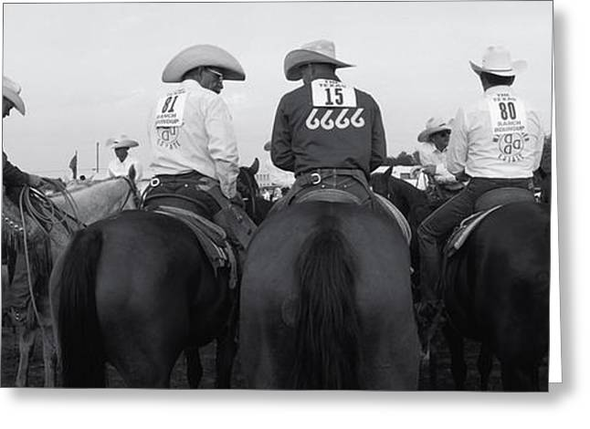 Medium Group Of People Greeting Cards - Cowboys On Horses At Rodeo, Wichita Greeting Card by Panoramic Images