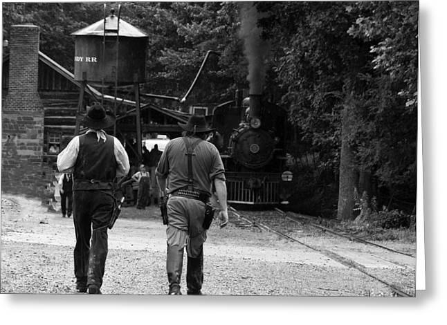 Photos On Canvas Greeting Cards - Cowboys steam engine trains Greeting Card by Chris Flees
