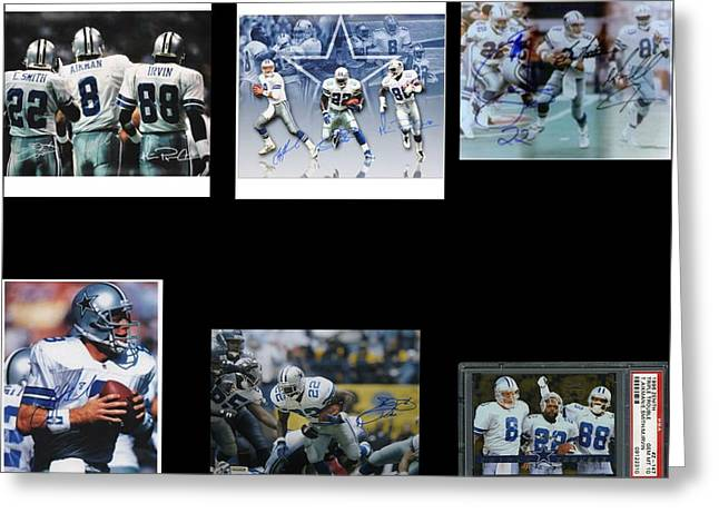 The Three Players That Made The Cowboys A Dynasty In 1990s Era Football Greeting Cards - Cowboys Triple Threat  Autographed Reprint Greeting Card by James Nance